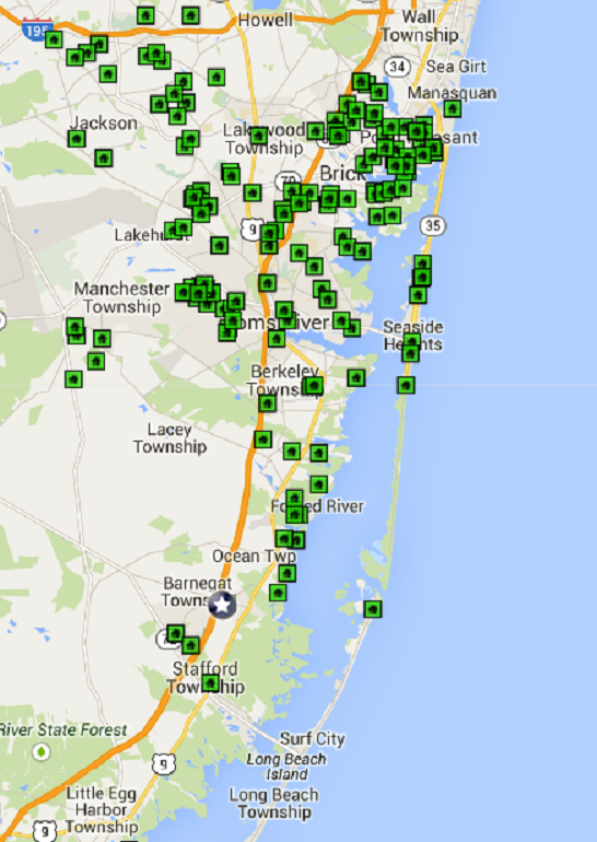 Map of Open Houses in Ocean County 3/22/15