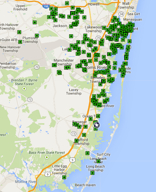 Ocean County Open House Map April 12, 2015