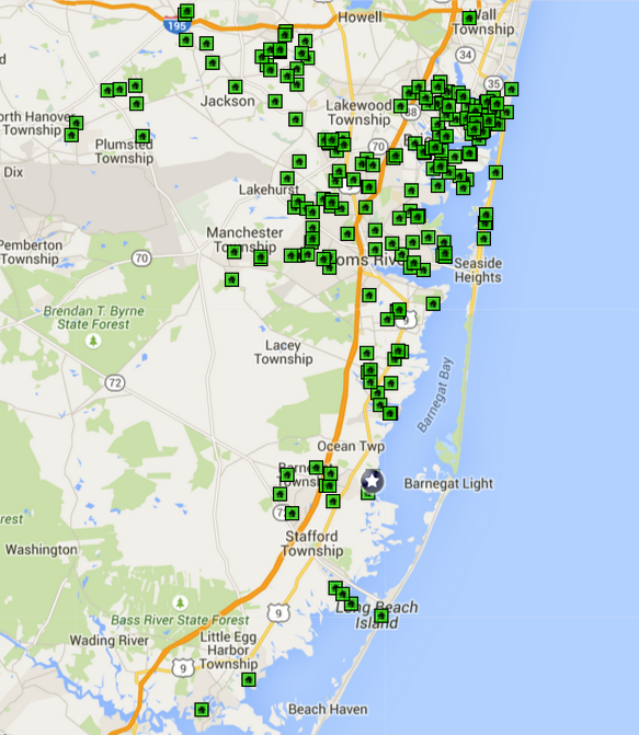 Ocean County Open House Map 5/31/2015